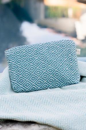 Bolsa de Algodão Diamante Azul Turquesa | Escuro