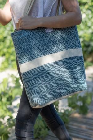 Saco de Praia Algodão-Lã Diamante Azul | Cru